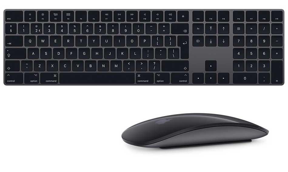 Nieuwe Apple Toetsenbord, Trackpad en Muis in Spacegrijs.